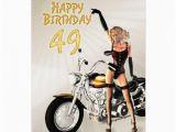 49th Birthday Card 49th Birthday Card with A Motorbike Girl Zazzle