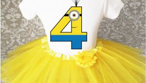 4th Birthday Girl Outfits Yellow Minion Girl 4th Fourth Birthday Tutu Outfit Shirt