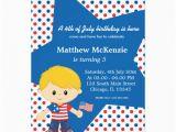 4th Birthday Invitation Cards 4th Of July Birthday Boy 5×7 Paper Invitation Card Zazzle