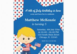 4th Birthday Invitation Cards Of July Boy 5x7 Paper Card Zazzle