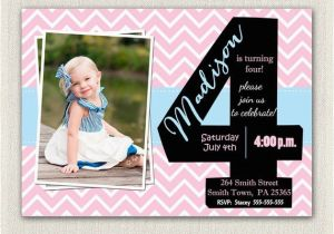 4th Birthday Invitation Cards Girls Invitations Printable Fourth