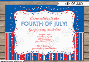 4th Birthday Invitation Templates July Party Invitations Template Fourth Of