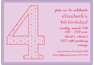 4th Birthday Party Invitation Wording 4th Birthday Party Invitation