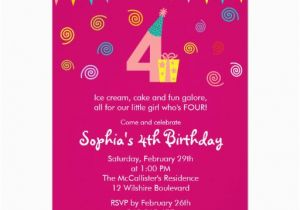 4th Birthday Party Invitation Wording 4th Birthday Girl Dots