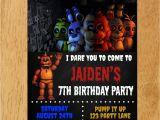 5 Nights at Freddy S Birthday Invitations Five Nights at Freddy 39 S Birthday Party Invitation by