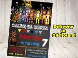 5 Nights at Freddy S Birthday Invitations Five Nights at Freddy 39 S Invitation Five Nights by