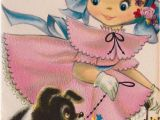 5 Year Old Birthday Card Messages Vintage 1960 39 S Happy Birthday 5 Year Old Girl and Puppy