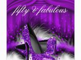 50 and Fabulous Birthday Decorations Fabulous 50 Purple High Heels 50th Birthday Party Card