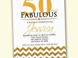 50 and Fabulous Birthday Invitations 50th Birthday Invitation Fifty and Fabulous Gold by