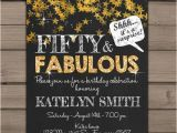 50 and Fabulous Birthday Invitations 50th Birthday Invitation Fifty and Fabulous Gold Glitter