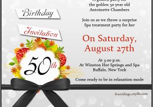 50 Birthday Party Invitation Wording 50th Samples Wordings And