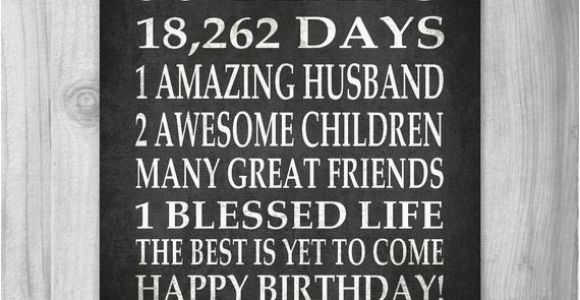 50 Year Old Birthday Card Ideas 50th Birthday Party Gift Personalized 50 Birthday Print Over