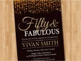 50 Year Old Birthday Invitations 50th Birthday Invitation for Women Fifty and Fabulous Golden