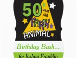50 Year Old Birthday Party Invitations 50 Year Old Party Animal 50th Birthday 5×7 Paper