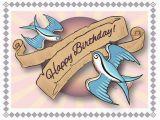 50s Birthday Card Birthday Card Happy Birthday Swallows Tattoo Style Art
