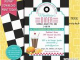 50s Birthday Invitations 50s Retro Diner Invite 50s Party Invitation Burger Party