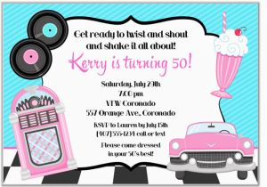 50s Birthday Invitations 50s theme Birthday Party Invitations