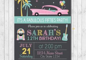 50s Birthday Invitations Fifties Birthday Invitation 50s Invite Fifties Party