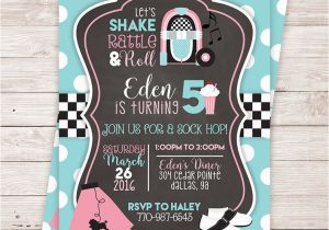 50s Birthday Invitations Printable 50 39 S Birthday Party Invitation sock Hop