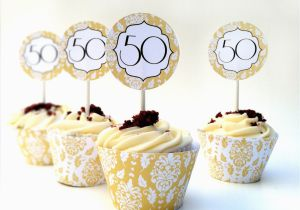 50th Birthday Cupcake Decorations Instant Download Anniversary Diy