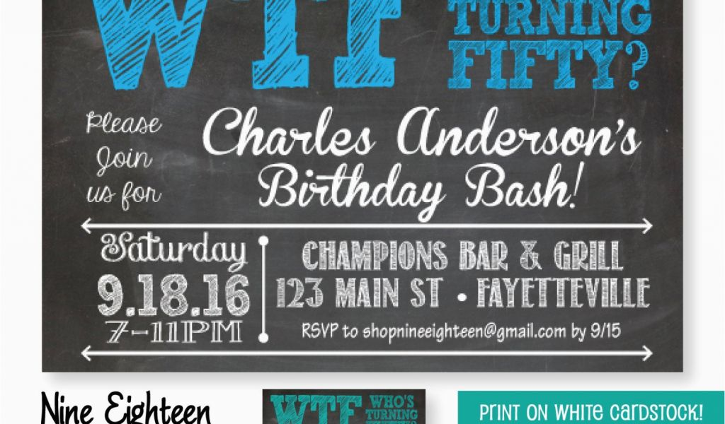 50th Birthday Email Invitations 50th Birthday Party Invitation Wtf