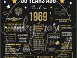 50th Birthday Gifts for Him Nz 50th Birthday Instant Download Poster 1969 Sign 50th