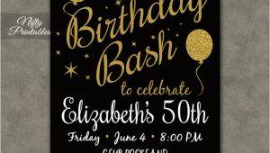 50th Birthday Invitations Free 50th Birthday Invitation Printable 50 Black Gold Glitter