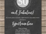 50th Birthday Invitations Free Download Chalkboard 50th Birthday Invitation Template Silver Glitter