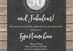 50th Birthday Invitations Free Download Chalkboard Invitation Template Silver Glitter