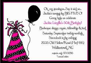 50th Birthday Invite Wording Invitation For Party New Ideas