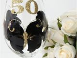 50th Birthday Mementos 50th Birthday Wine Glass Black and Gold 50th by
