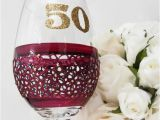 50th Birthday Mementos 50th Birthday Wine Glass Gift for Her Ruby by Inaspinniquesway