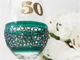 50th Birthday Mementos Emerald 50th Birthday Wine Glass Gifts and by Inaspinniquesway