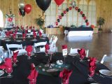 50th Birthday Party Decorations Black and Silver Casino Prom Balloons In Silver Black and Red at Maneeley