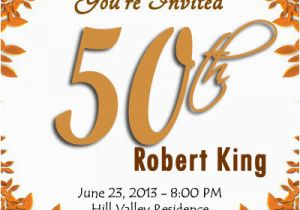 50th Birthday Party Invitation Templates Blank Invitations Free