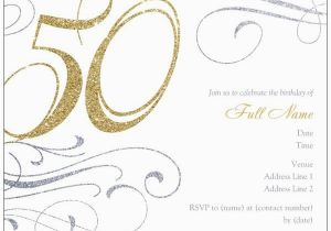 50th Birthday Party Invitations Free Printable Invitation Templates A