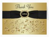 50th Birthday Thank You Cards 50th Anniversary Black Gold Floral Thank You Card Zazzle