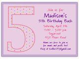5th Birthday Invitation Wording Boy 5th Birthday Girl Dots Birthday Invitations Paperstyle