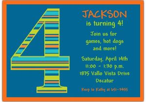 5th Birthday Invitation Wording Boy Stripes 4th Invitations Paperstyle