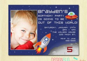5th Birthday Invitation Wording Boy Boys Outer Space Rocket Party