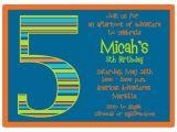 5th Birthday Invitation Wording for Girl Birthday Boy Stripes 5th Birthday Invitations Paperstyle