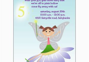 5th Birthday Invitation Wording For Girl Fairy Fun Brunette Invitations Paperstyle