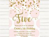 5th Birthday Invitation Wording for Girl Pink and Gold 5th Birthday Invitation Girl Any Age Pink Gold