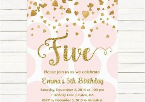 5th Birthday Invitation Wording For Girl Pink And Gold Any Age