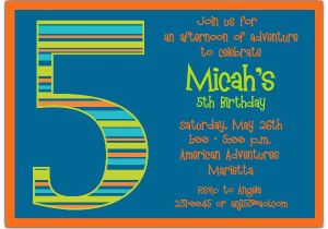 5th Birthday Invitation Wording Samples Boy Stripes Invitations Paperstyle