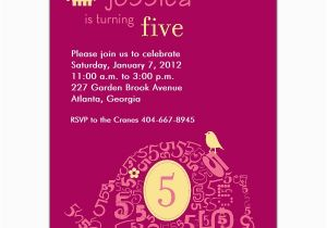 5th Birthday Invitation Wording Samples Elephant Girl Invitations Paperstyle