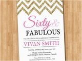 60 and Fabulous Birthday Invitations 60th Birthday Invitation Women Sixty and Fabulous Glitter