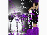 60 and Fabulous Birthday Invitations Fabulous 60 60th Birthday Purple Roses Martini Card Zazzle
