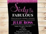 60 and Fabulous Birthday Invitations Glitter Glam Sixty and Fabulous Birthday Party Invitations