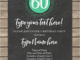 60 Birthday Invitation Templates Chalkboard 60th Birthday Invitations Template Editable